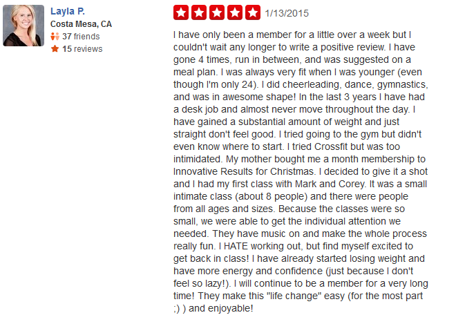 yelp review of our personal trainers in costa mesa, ca