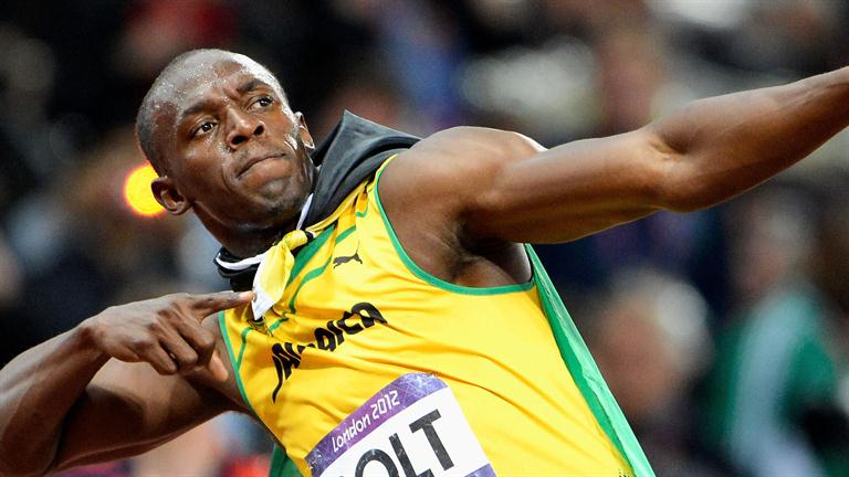 Usian Bolt Celebrating after a sprint