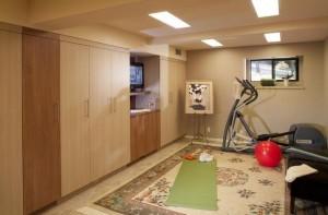 Small-basement-home-gym-and-yoga-area