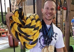 Kettlebell Bolt, Harrel Carman, Battle Ropes, Onnit Battle Ropes, Medals, Orange County Fitness Playground, Kettlebell Competition, Bolt Kettlebell Competition, California State Kettlebell Bolt Championship